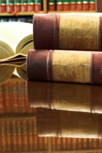 Legal books on table